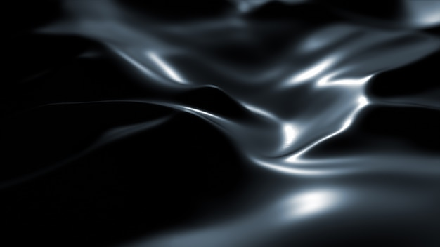 Superficie oscura con reflejos. fondo liso de ondas negras mínimas. borrosas olas de seda. flujo mínimo de ondas suaves en escala de grises.