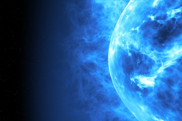 Superficie del sol azul con erupciones solares