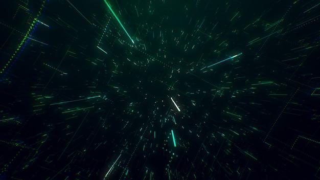 La superficie de la tecnología con líneas de caos y cuadrícula es una imagen de computadora abstracta con aberraciones cromáticas. arte digital: un fondo oscuro técnico, de ciencia ficción o de ciencia ficción. ilustración 3d