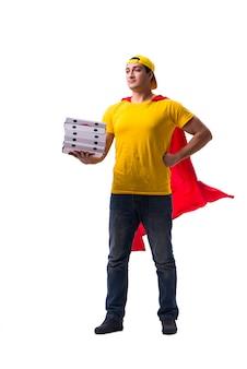 Superhéroe repartidor de pizza aislado