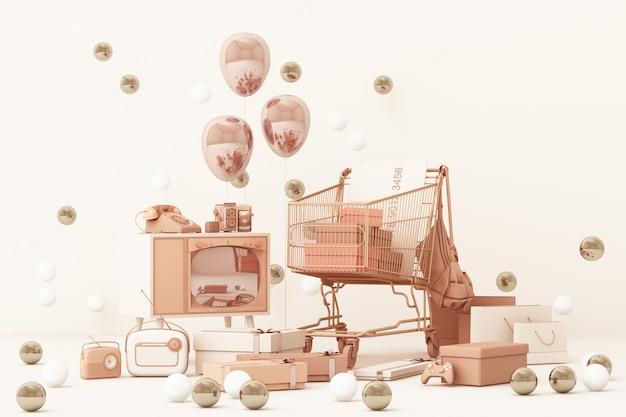 Supermercado carrito de compras rodeado de caja de regalo con tarjeta de crédito y muchos gadgets en rosa