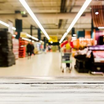 Supermercado con efecto borroso