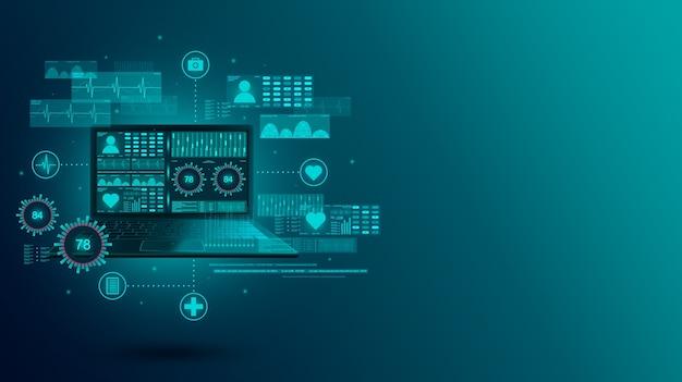 Supervisión de indicadores médicos usando recursos en línea en un portátil