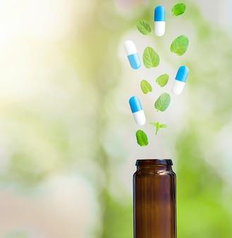 Suplementos de hierbas naturales y frasco de pastillas. concepto de medicina natural