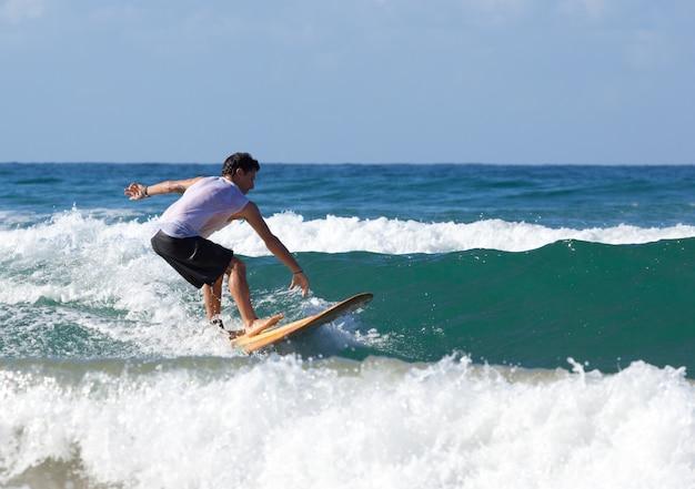 Surfista en longboard monta una ola en el mar