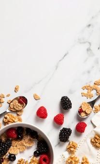 Surtido de cereales de tazón saludable con espacio de copia