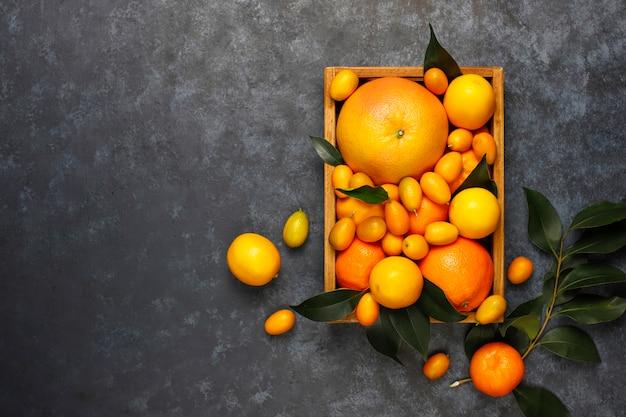 Surtido de cítricos frescos en la cesta de almacenamiento de alimentos, limones, naranjas, mandarinas, kumquats, toronjas, vista superior