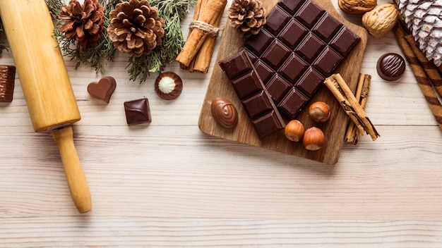 Surtido de comida navideña festiva laica plana