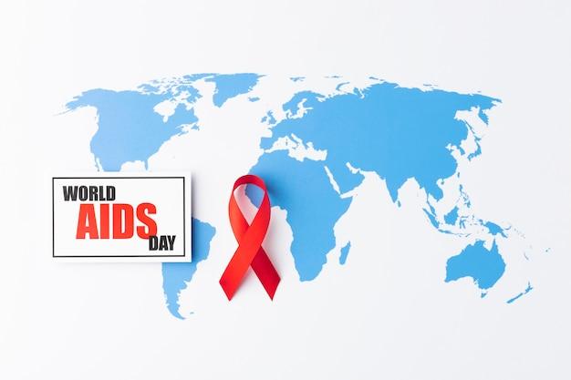 Surtido de concepto del día mundial del sida con símbolo de cinta