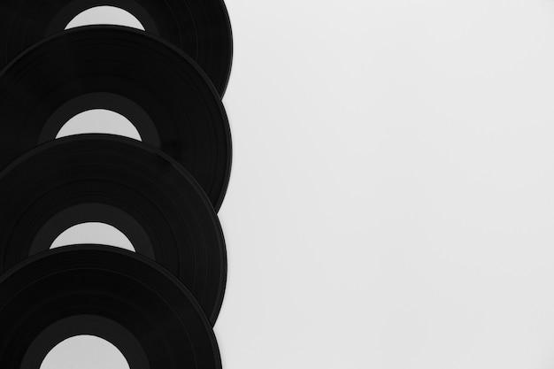 Surtido de discos de vinilo de vista superior