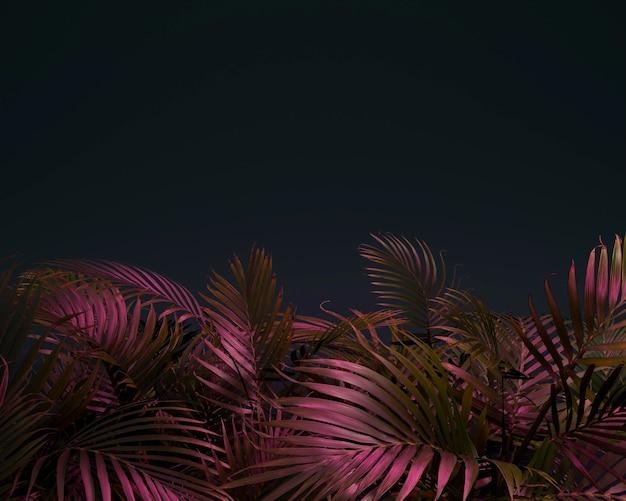 Surtido de hojas de palmera de colores 3d