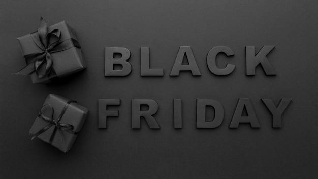 Surtido de letras de viernes negro plano laico
