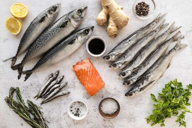Surtido de mariscos saludables.