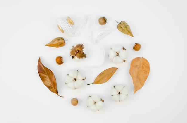 Surtido plano de flores de algodón