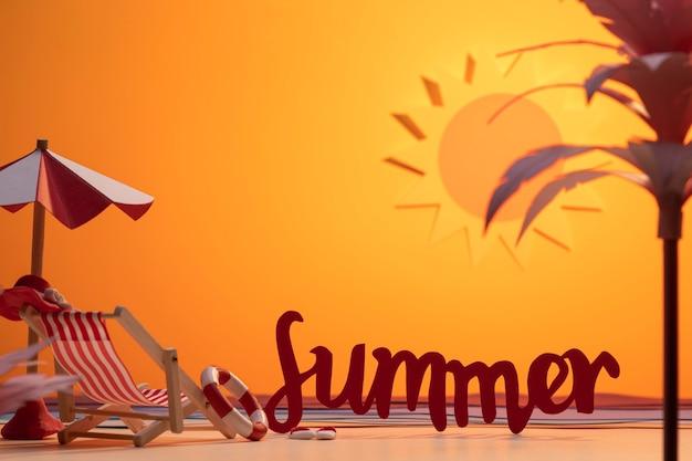 Surtido de playa de verano hecho en papel