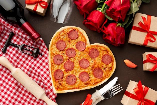 Surtido de san valentín con pizza