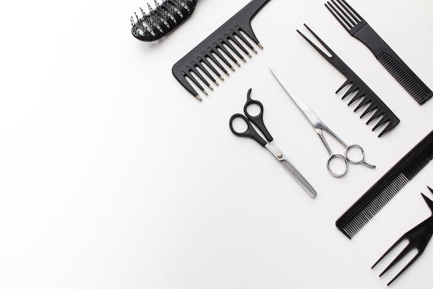 Surtido de suministros para el cabello copia espacio