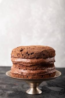 Surtido de tartas de chocolate de vista frontal