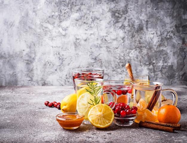 Surtido de té saludable para el invierno para aumentar la inmunidad.