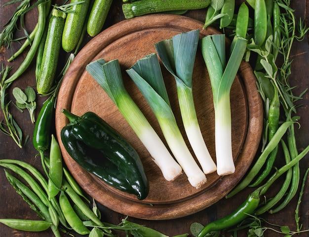 Surtido de vegetales verdes.