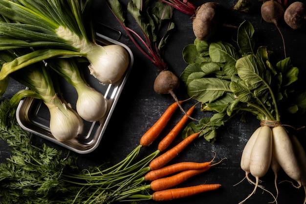 Surtido de verduras vista superior