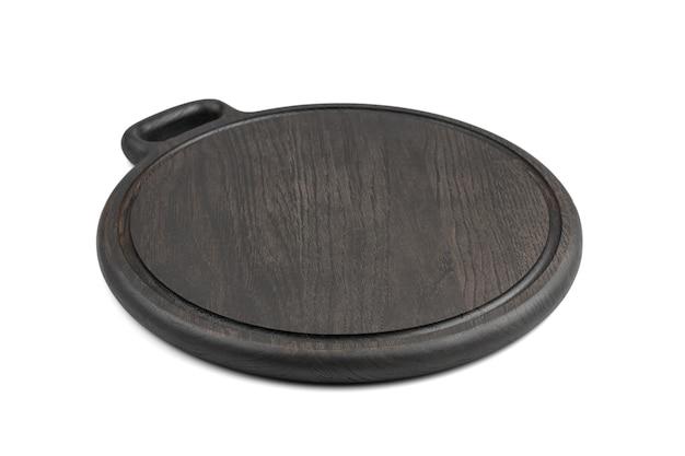 Tabla de cortar negra de madera natural aislada sobre fondo blanco. vista lateral. concepto de accesorios de cocina.