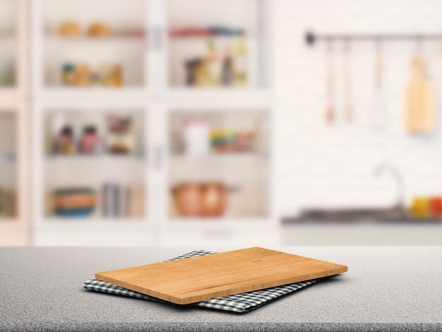 Tabla de cortar sobre encimera de granito con fondo de armario de cocina