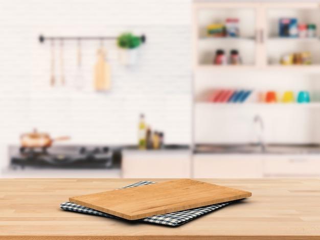 Tabla de cortar sobre encimera de madera con fondo de armario de cocina