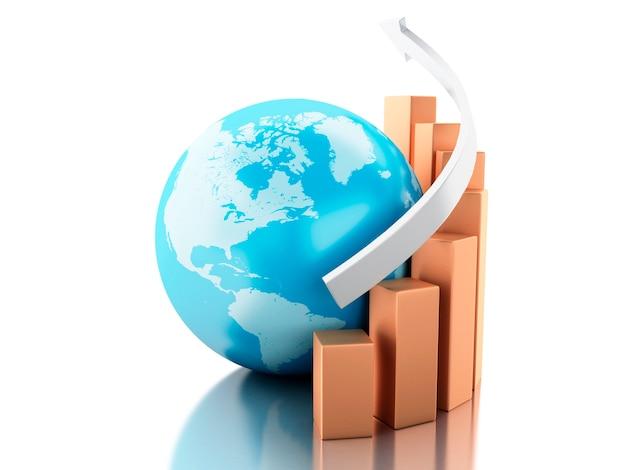 Tabla de crecimiento 3d con globo. concepto de negocio y economía.
