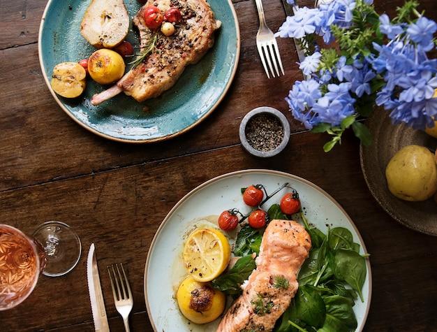 Tabla para dos ideas de recetas de fotografía de alimentos