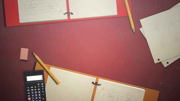 Tabla de primer plano de estudiante con cuaderno y calculadora, antecedentes escolares. ilustración 3d elegante y de lujo del tema de la educación