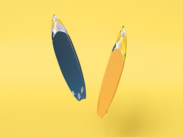 Tabla de surf moderna sobre fondo amarillo aislado. concepto de deportes acuáticos.