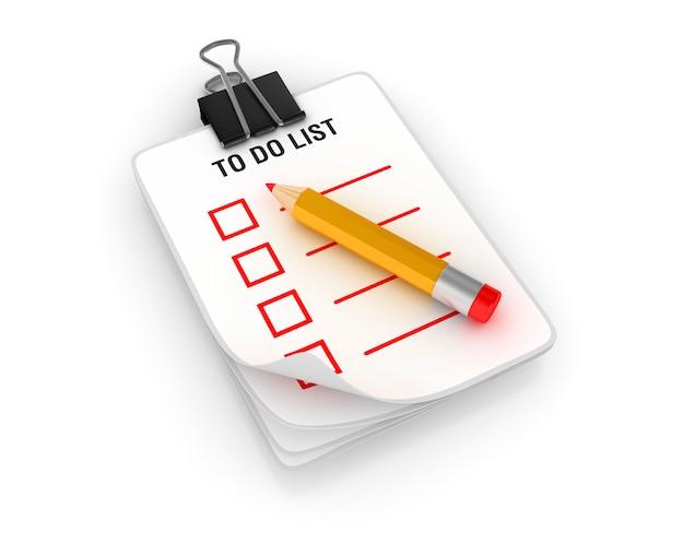 Tablero 3d con lista de tareas y lápiz