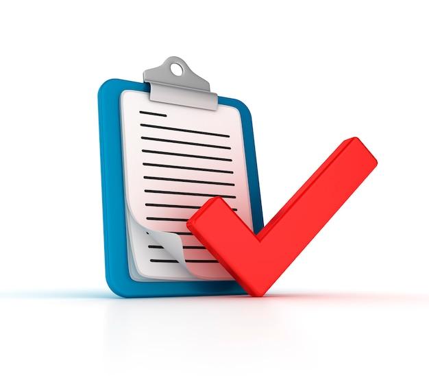 Tablero 3d con notas y marca de verificación