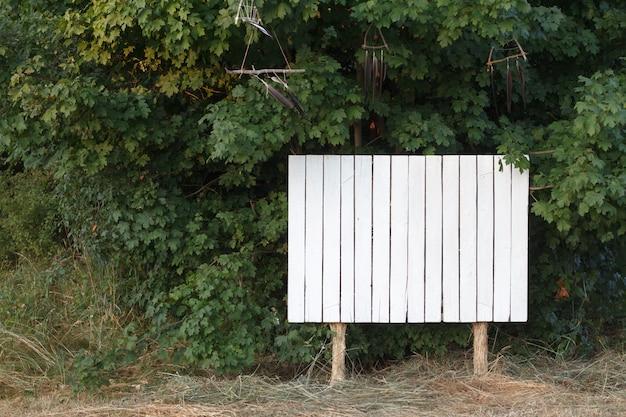 Tablero blanco para información en el parque o bosque, copyspace
