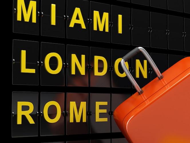 Tablero de aeropuerto y maletas de viaje. concepto de viaje de aerolínea.