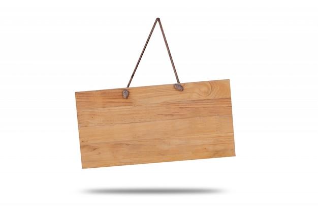 Tablero de madera colgando de una cuerda Foto Premium