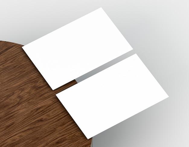 Tablero de madera y papelería corporativa en blanco.