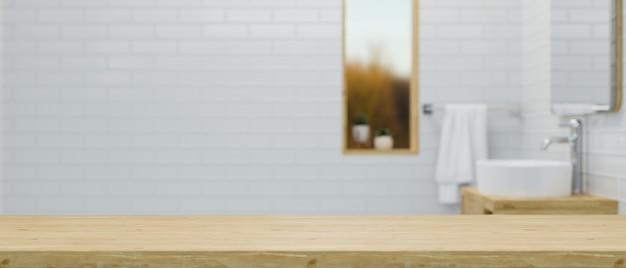 Tablero de madera vacío o tablero de la mesa para la exhibición del montaje sobre la representación 3d del interior del cuarto de baño del ladrillo blanco