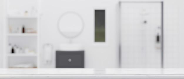 Tablero de mesa vacío para exhibición de productos de montaje con baño de apartamento moderno borroso en segundo plano 3d