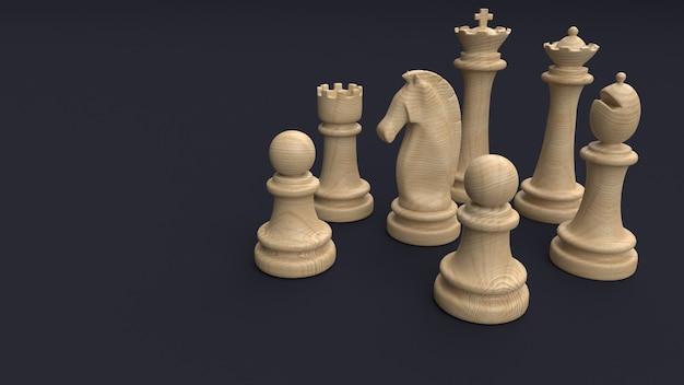 Tablero y piezas de ajedrez clásico