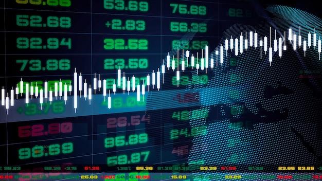 Tablero de tickers del mercado de valores con gráficos y tablas. ilustración 3d.
