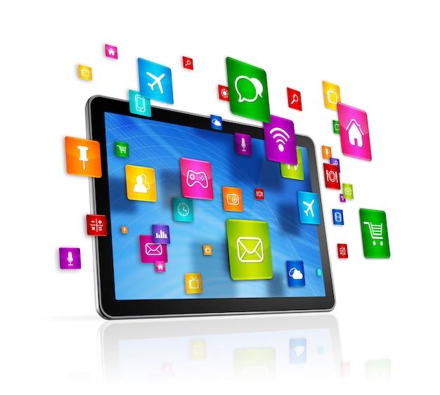 Tablet pc e íconos de aplicaciones voladoras