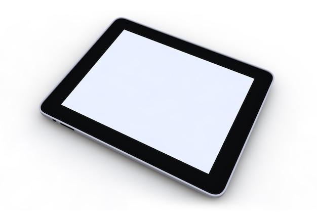 Tablet pc en el fondo blanco 3d render