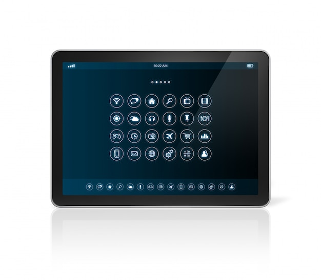 Tablet pc con interfaz de iconos de aplicaciones