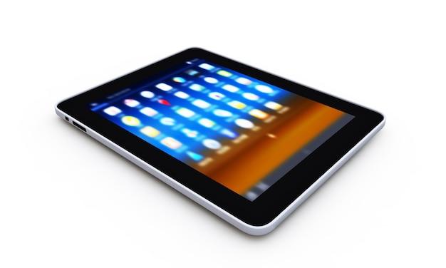Tablet pc sobre el fondo blanco.
