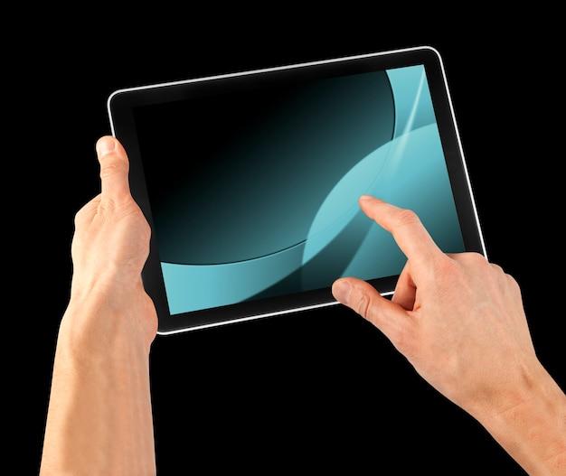 Una tableta en el blanco