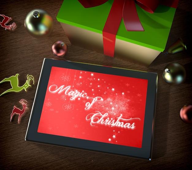 Tableta digital con adornos navideños