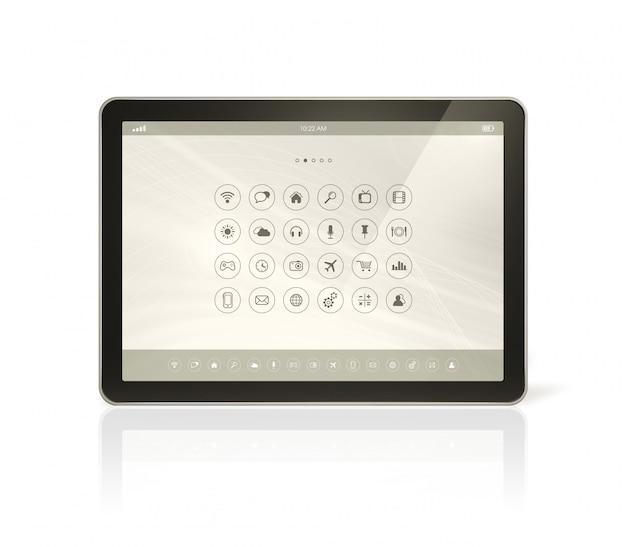 Tableta digital con interfaz de iconos de aplicaciones