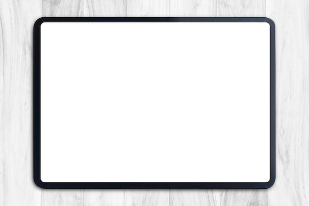 Tableta digital con pantalla en blanco sobre blanco